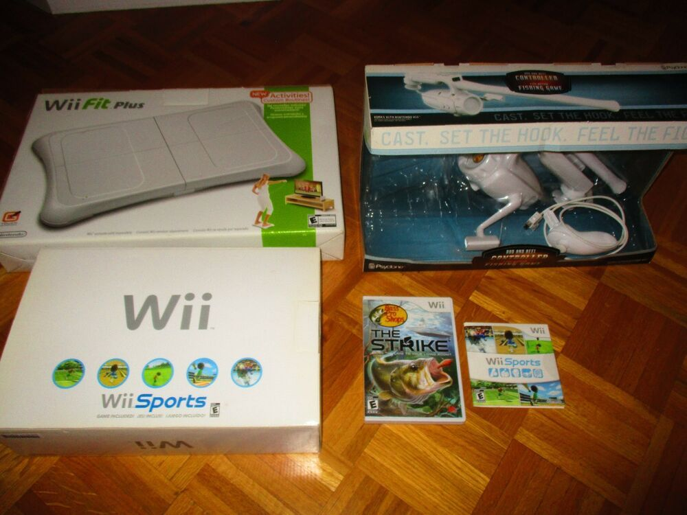 Nintendo Wii Console And Wii Fit Plus Board With Bass Pro Fishing Game Nintendoswitch Nintendo Switch Wii Fit Nintendo Wii Console Plus Games