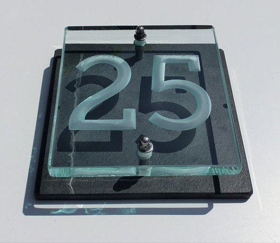 Engraved Glass Slate House Numbers And Names Slate House