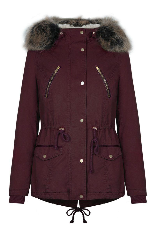 b2f13b3e9c3 Burgundy Faux-Fur Parka Coat TALLY WEiJL