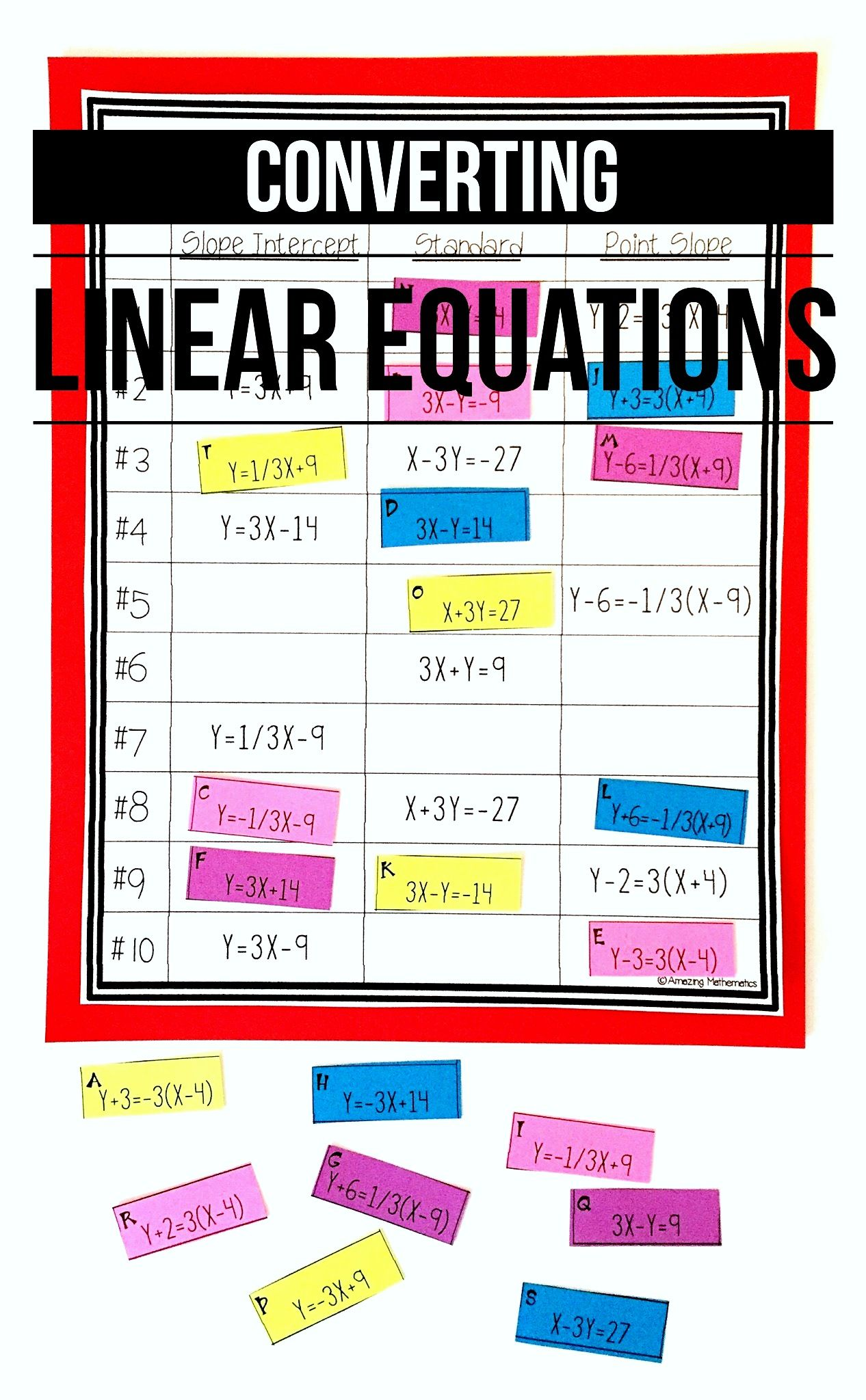 Converting Linear Equations Slope Intercept Standard
