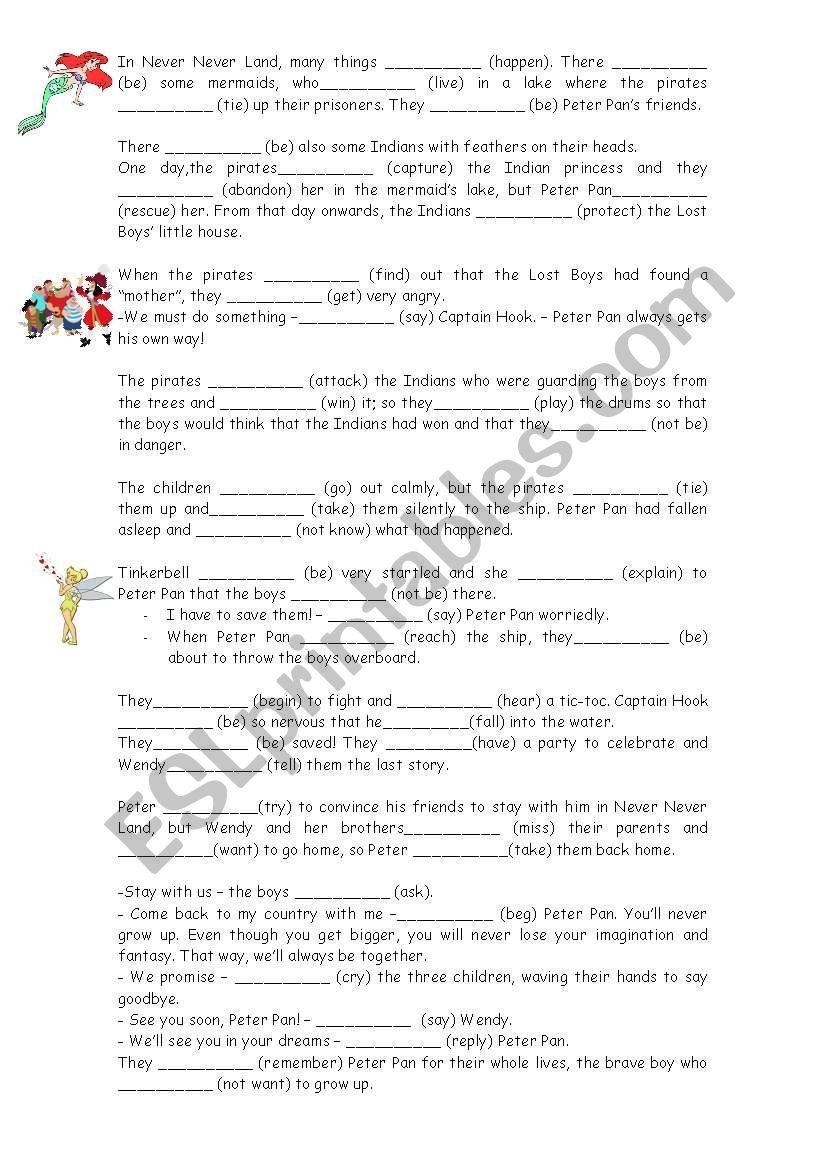 small resolution of Peter Pan´s story worksheet   Peter pan