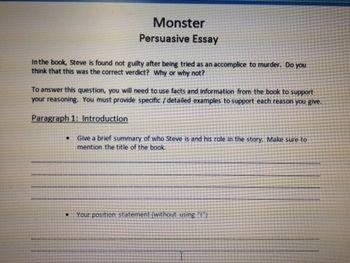Monster Persuasive Essay Outline Persuasive Essay Outline Essay Outline Persuasive Essays