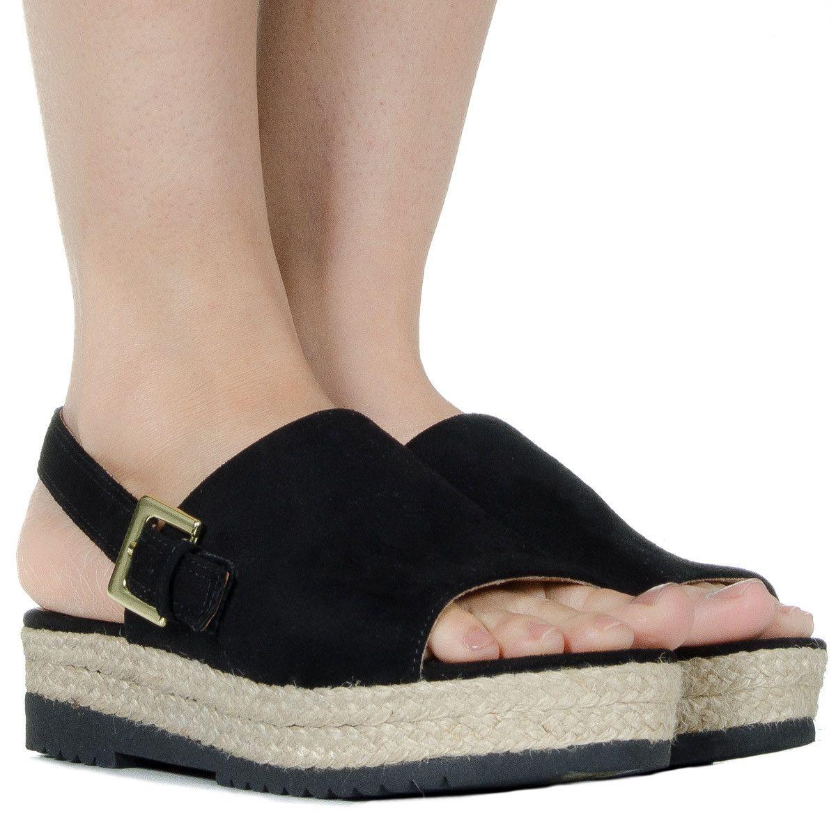 941458c0ef Espadrille flatform preta de camurça Taquilla - Taquilla  Calçados  femininos online