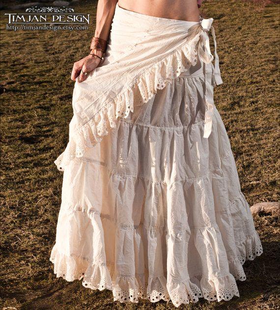 Long Hemp Skirt Hippie Boho Wedding Bride Faery Fairy