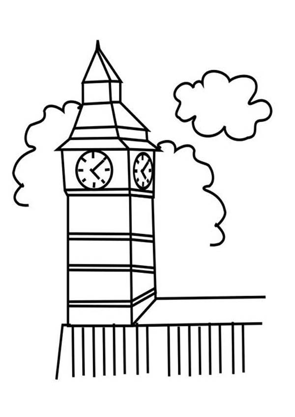 Big Ben Clock Tower In London Coloring Pages Netart Big Ben Clock Coloring Pages Clock Tower
