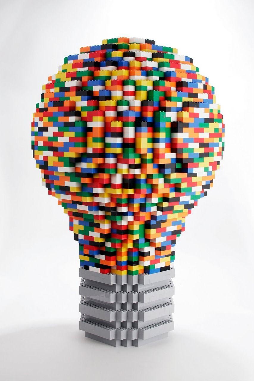 Bright Idea Lightbulb Moment Modern Lego Sculpture Art