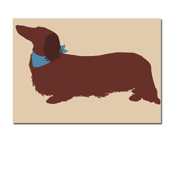 Long Haired Dachshund Dog Fine Art Print Sausage Dog Long