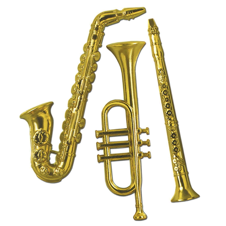 Gold Plastic Musical Instruments (3/Pkg)