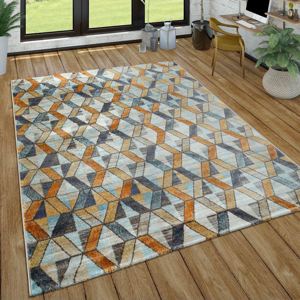 Kurzflor Teppich Geometrisches Design Bunt Teppich Geometrisch Teppich Grau Wohnzimmer Teppich