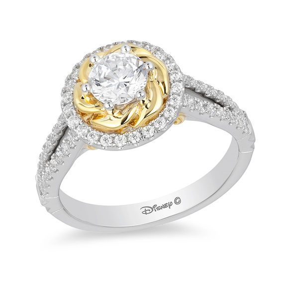 Enchanted Disney Belle 1 Ct T W Diamond Rose Frame Engagement Ring In 14k Two Tone Gold Zales Engagement Rings Rose Engagement Ring Pretty Engagement Rings