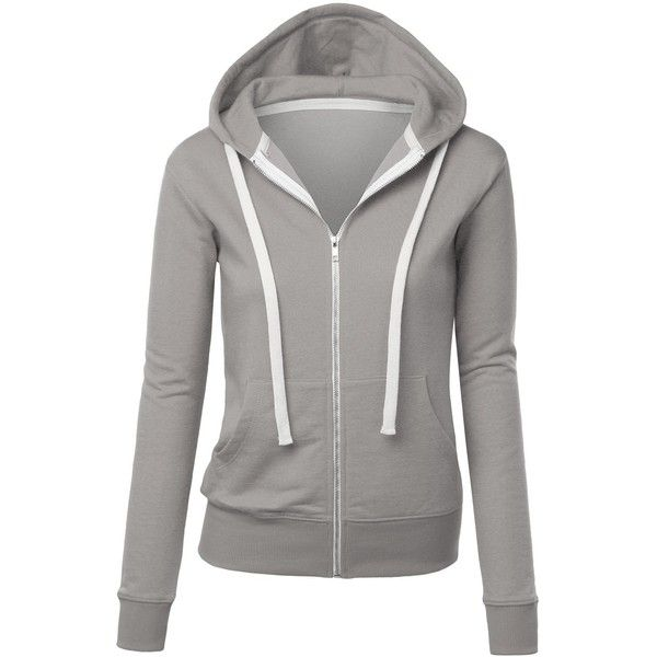 4f6845e91c MBJ WSK193 Womens Active Soft Zip Up Fleece Hoodie Sweater Jacket M...  ( 23) ❤ liked on Polyvore featuring tops