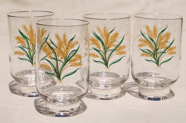 Viking gold wheat golden harvest pattern drinking glasses ...