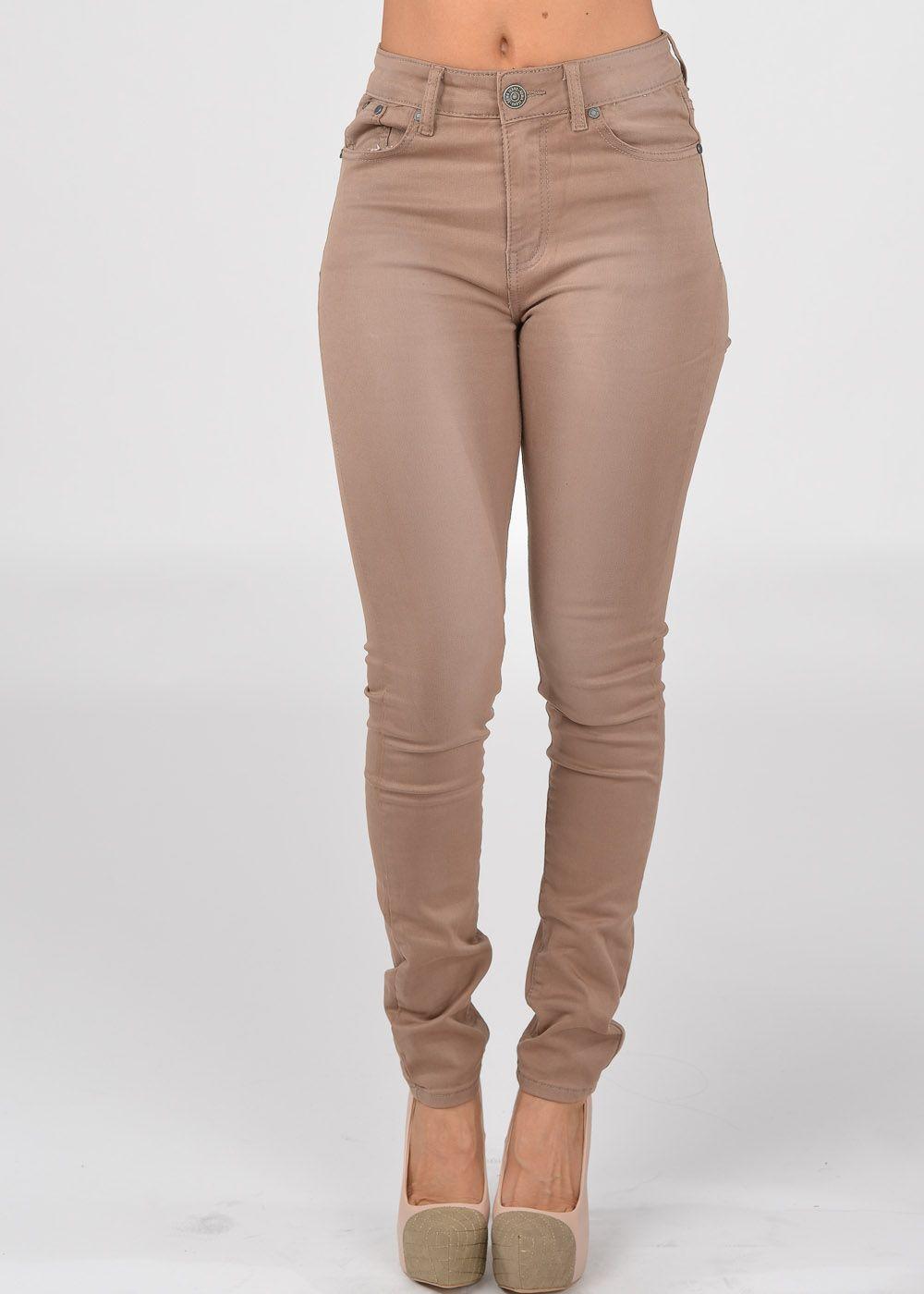 Fashion jeans- Cute high waist jeans- beige skinny jeans