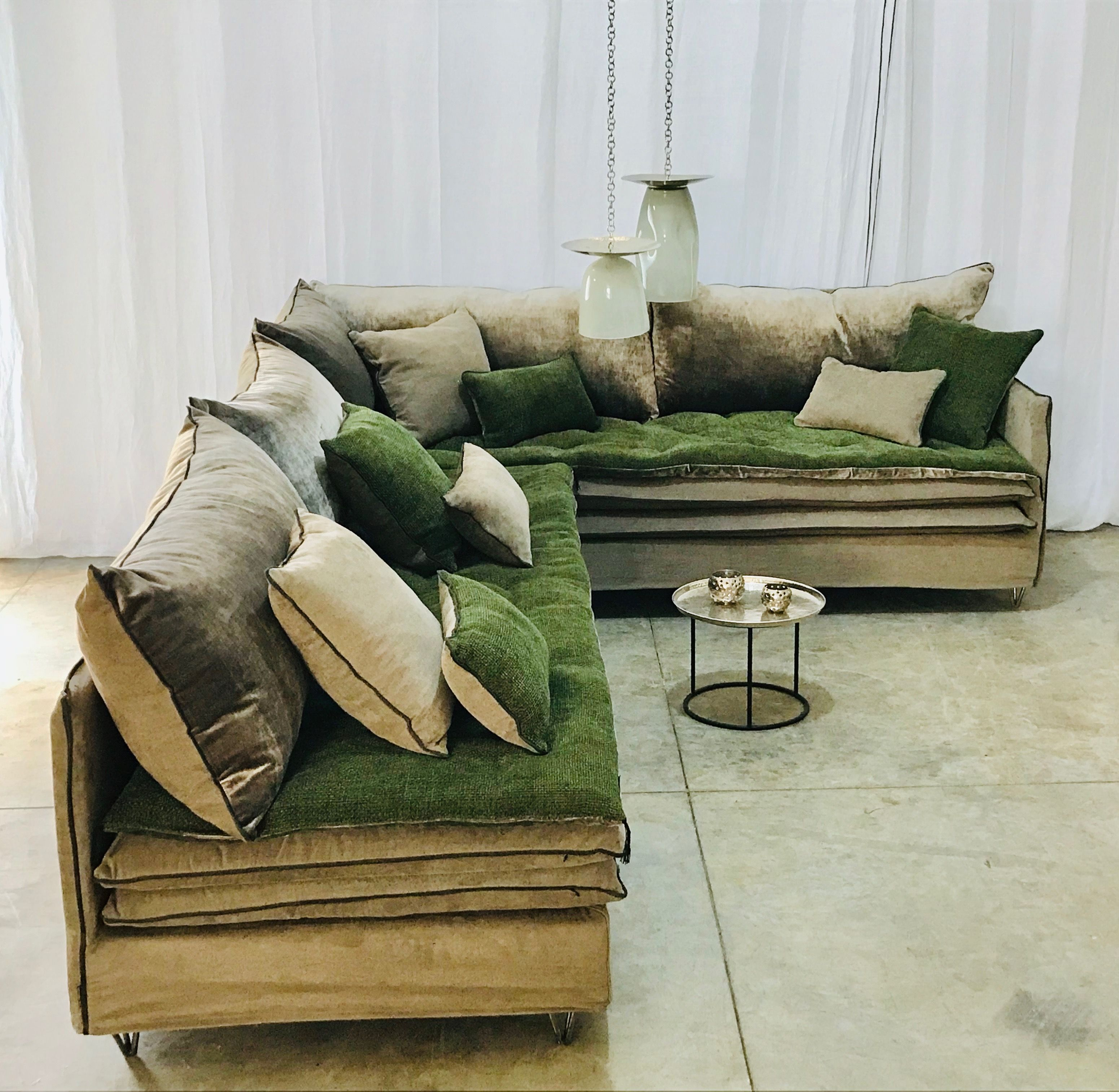 Sofa Cover Resto Zahara Chenille Soft Washed Emeraude Verso Velours Tsar Ecorce Canape Angle Banc Salle A Manger Canape