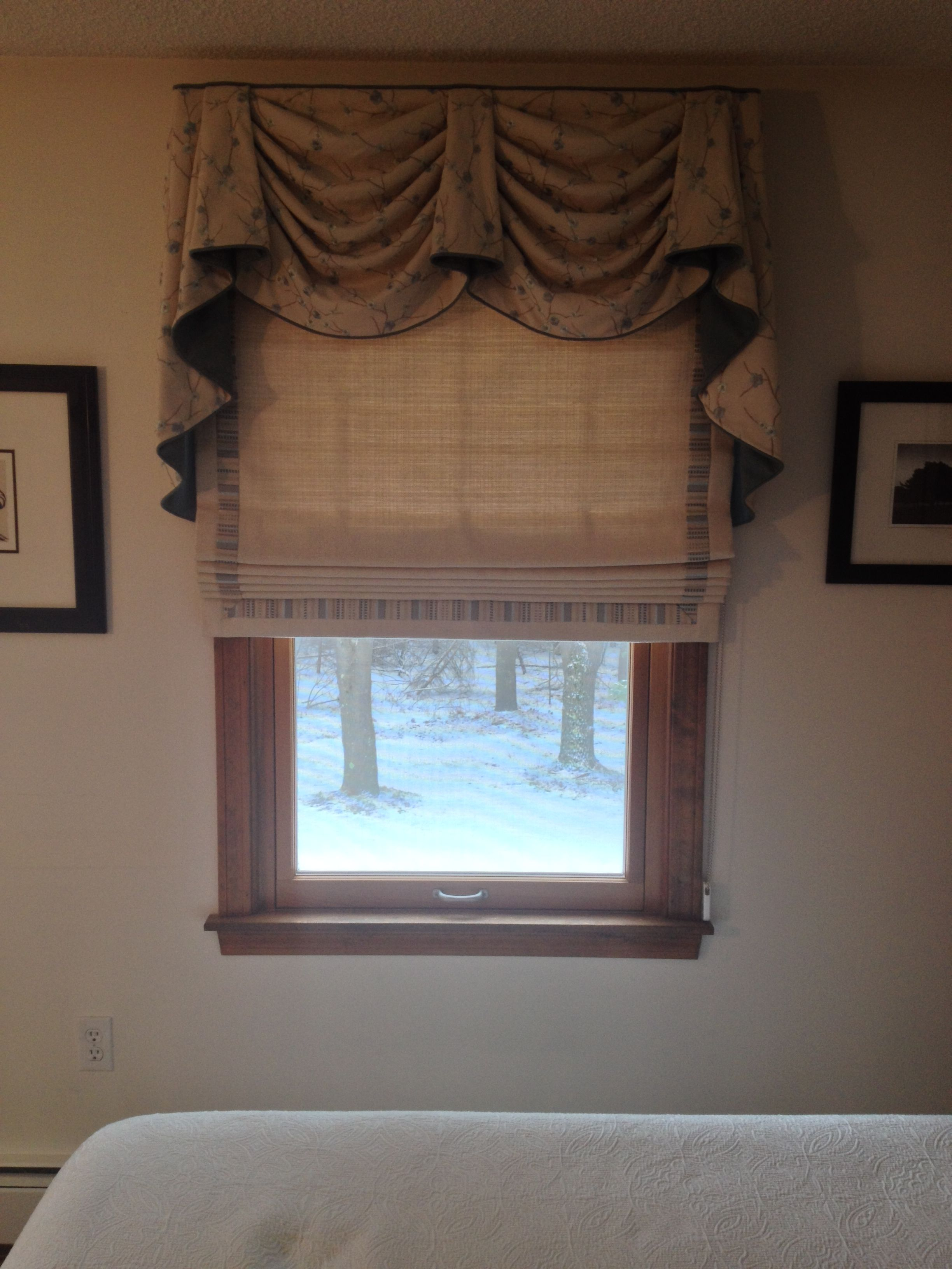 Window top decor  kingston valance as top treatment over a roman shade accented with