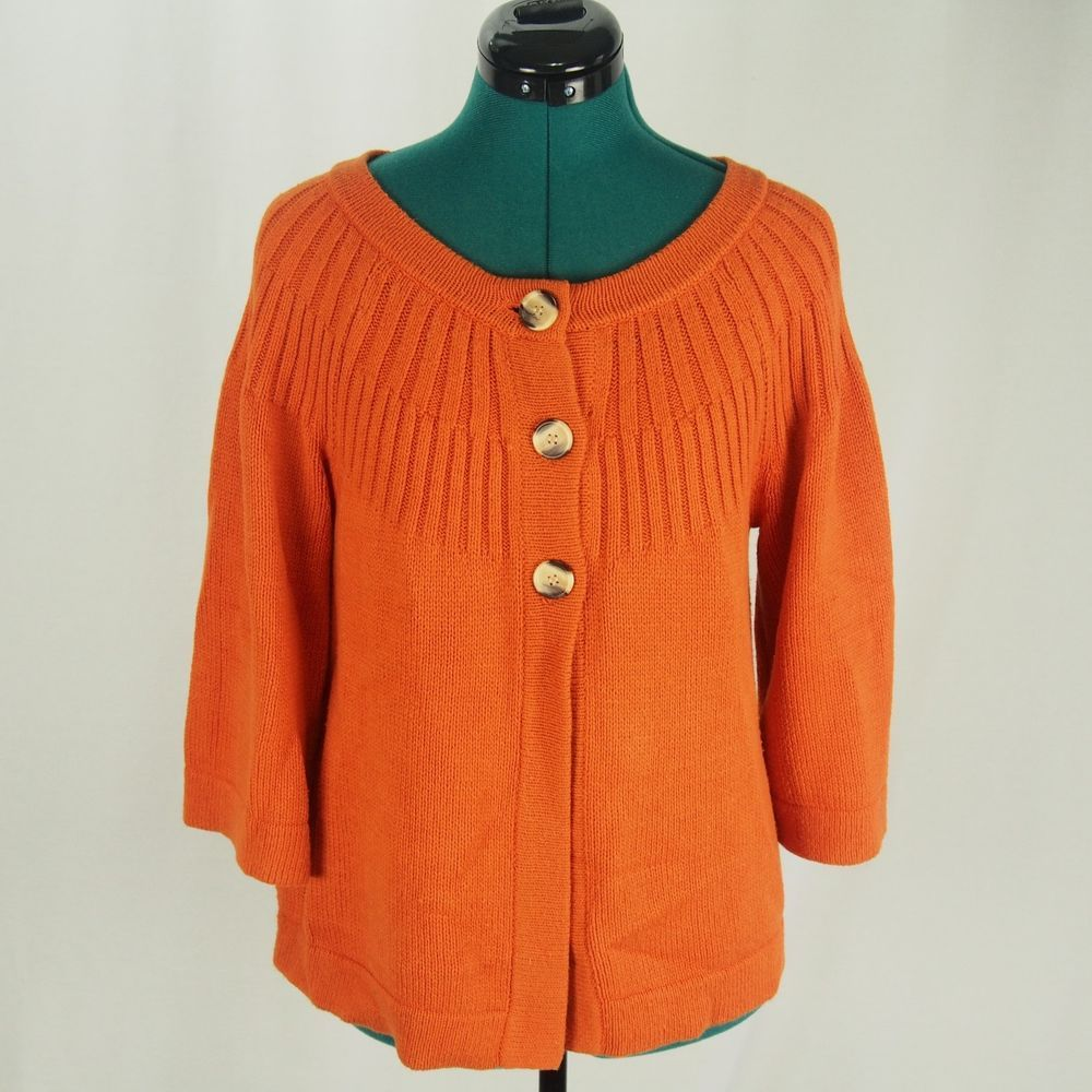 Orange Womens Sweater Cardigan Button Swing Front Chunky Knit Cozy ...