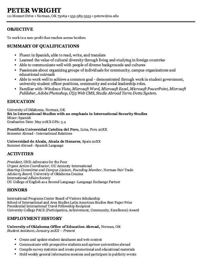 International Studies Sample Resumes Examples Resume Cv Resume Sample Resume Resume Examples