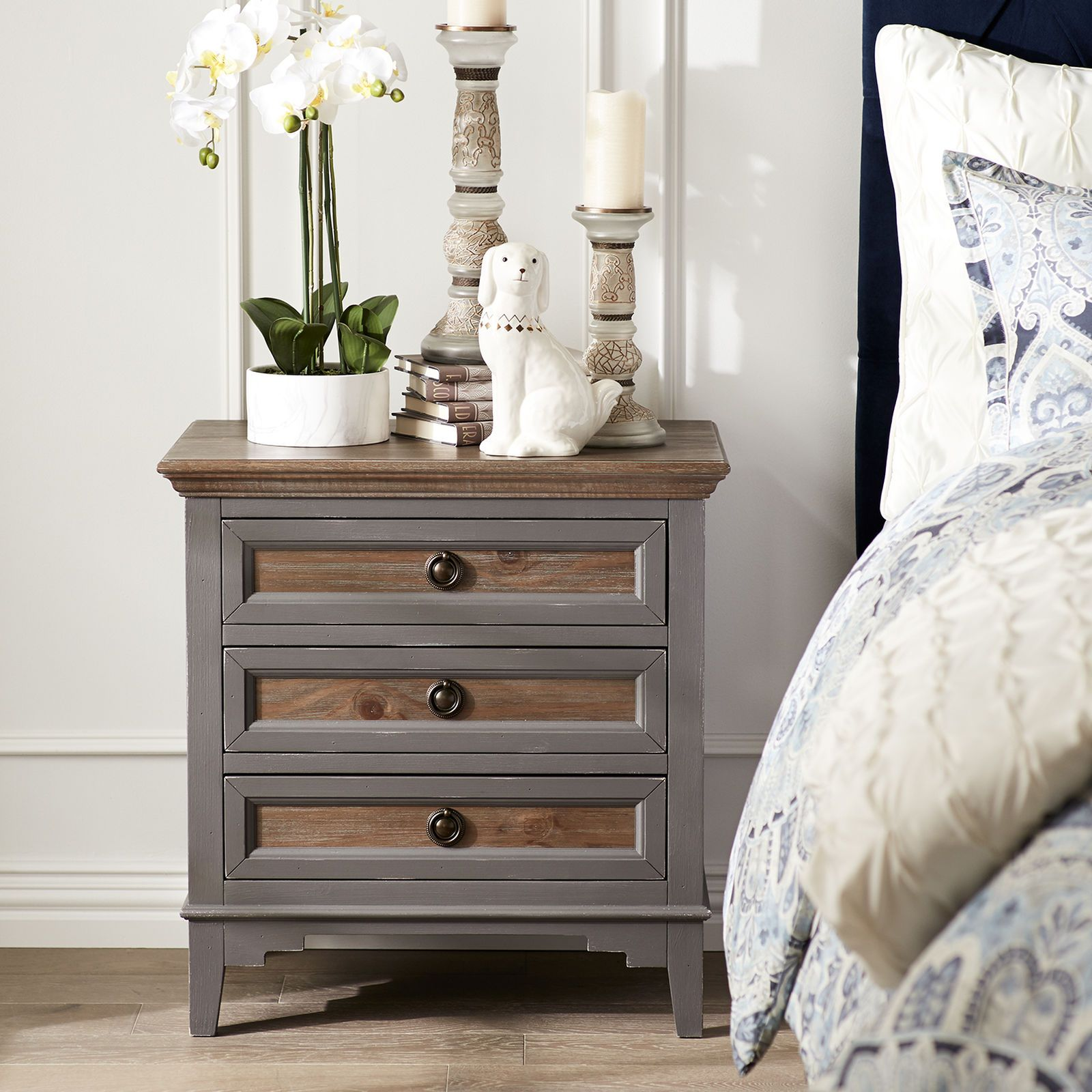 Weston Slate Bedside Chest With Saddle Wood Pier 1 Imports Furniture Home Decor Bedroom Rustic Bedside Table