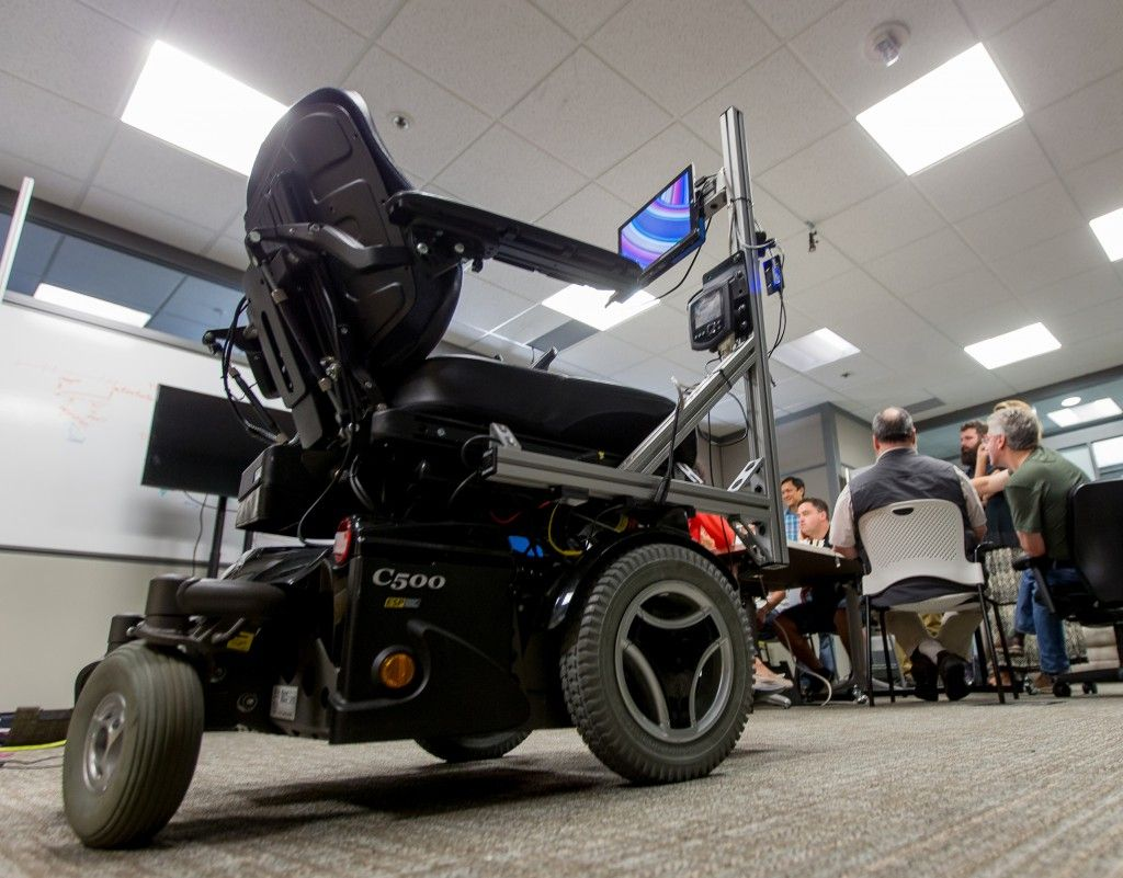 The Eye Gaze Wheelchair tracks usersu0027 eye movements as they look at controls on a Surface tablet allowing them to drive it using only their eyes. & The Eye Gaze Wheelchair tracks usersu0027 eye movements as they look at ...