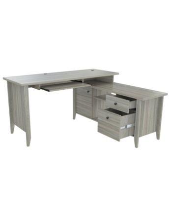 60 X 47 Modern White L Shaped Desk With File Drawer Open Shelving White Corner Desk Corner Desk White L Shaped Desk