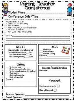 Free Parent Teacher Conference Forms And Notes  Super Cool