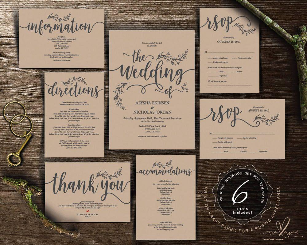 We do Wedding Invitation cards suite, Instant download PDF editable ...