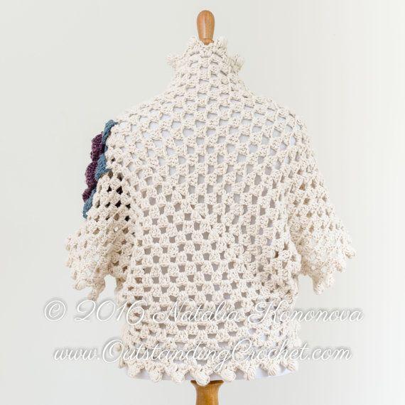 Crochet Shrug PATTERN - Bolero, Cardigan - Dark Rose - Small to Plus ...