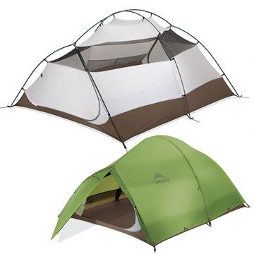 MSR Holler! Sweet 3-person packpacking tent with lots of room! Nice colors, too.