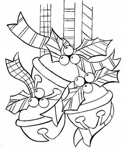 Jingle Bells Decorated With Holly Leaves Hung Like Christmas Decoration Coloring Page