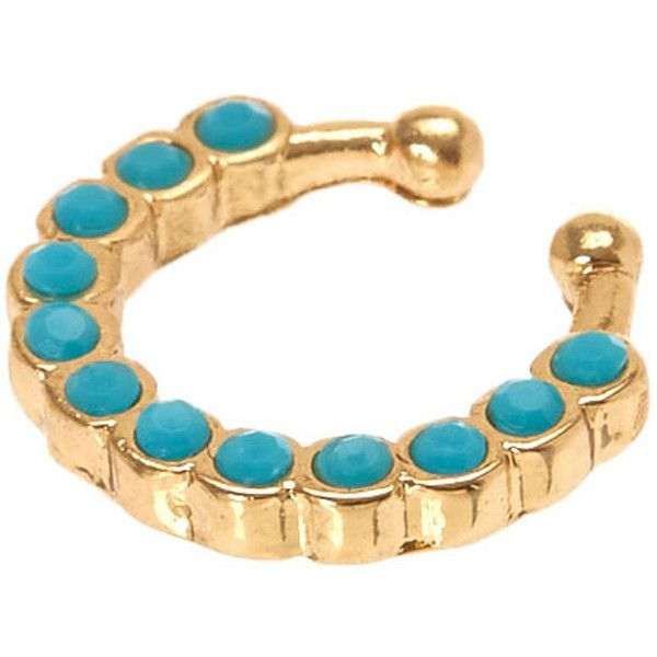 Faux Gold Turquoise Septum Ring 699 liked on Polyvore