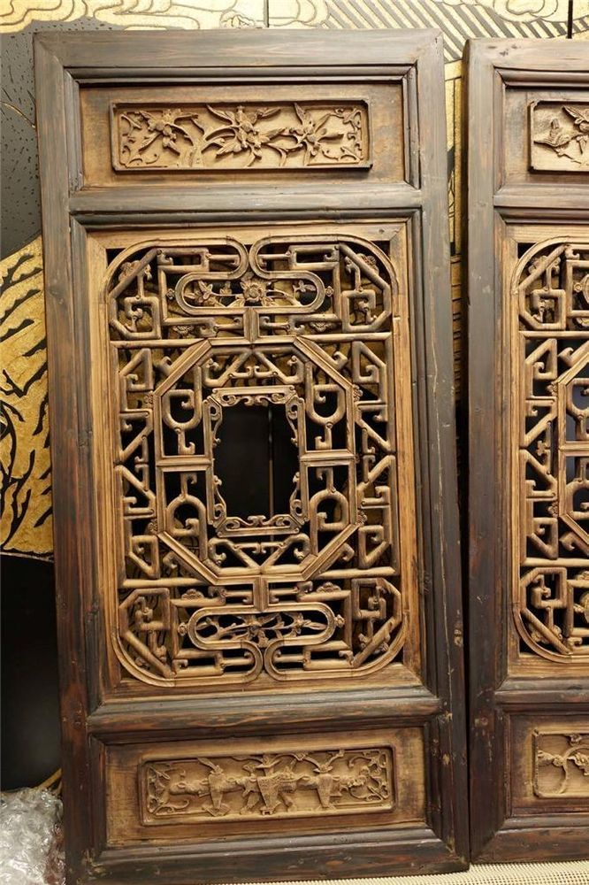 Vintage Wood Paneling: One Old Estate Chinese Antique Wood Window Wood Panel Wall