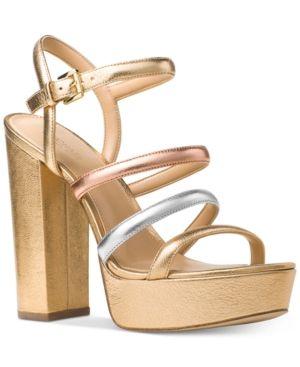 45901d12d1e Michael Michael Kors Nantucket Platform Sandals - Silver 7.5M