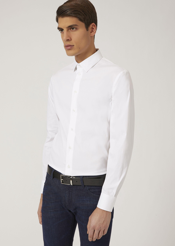 Emporio armani slim fit shirt in stretch cotton black