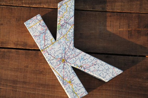 """Vintage Map Covered Letter - """"K"""" - Home Decor, East Coast, 3 Dimensional, Free Standing"""
