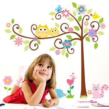 Comercio al por mayor ! 120 * 110cm linda del búho del árbol cáscara y del palillo Pegatinas de pared Kindergarten DIY del vinilo del arte pegatinas de pared Decoración Mural