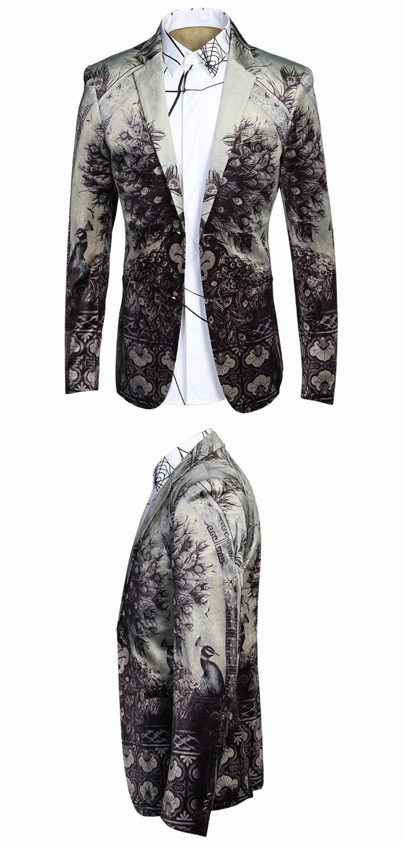 4b330c9e98e Luxury Blazer Suit Jacket Men 2016 Brand Slim Fit Floral Men Blazer Stage  Costume Singers Business