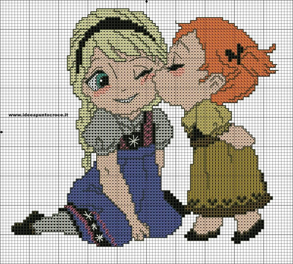 Anna & Elsa cross stitch pattern