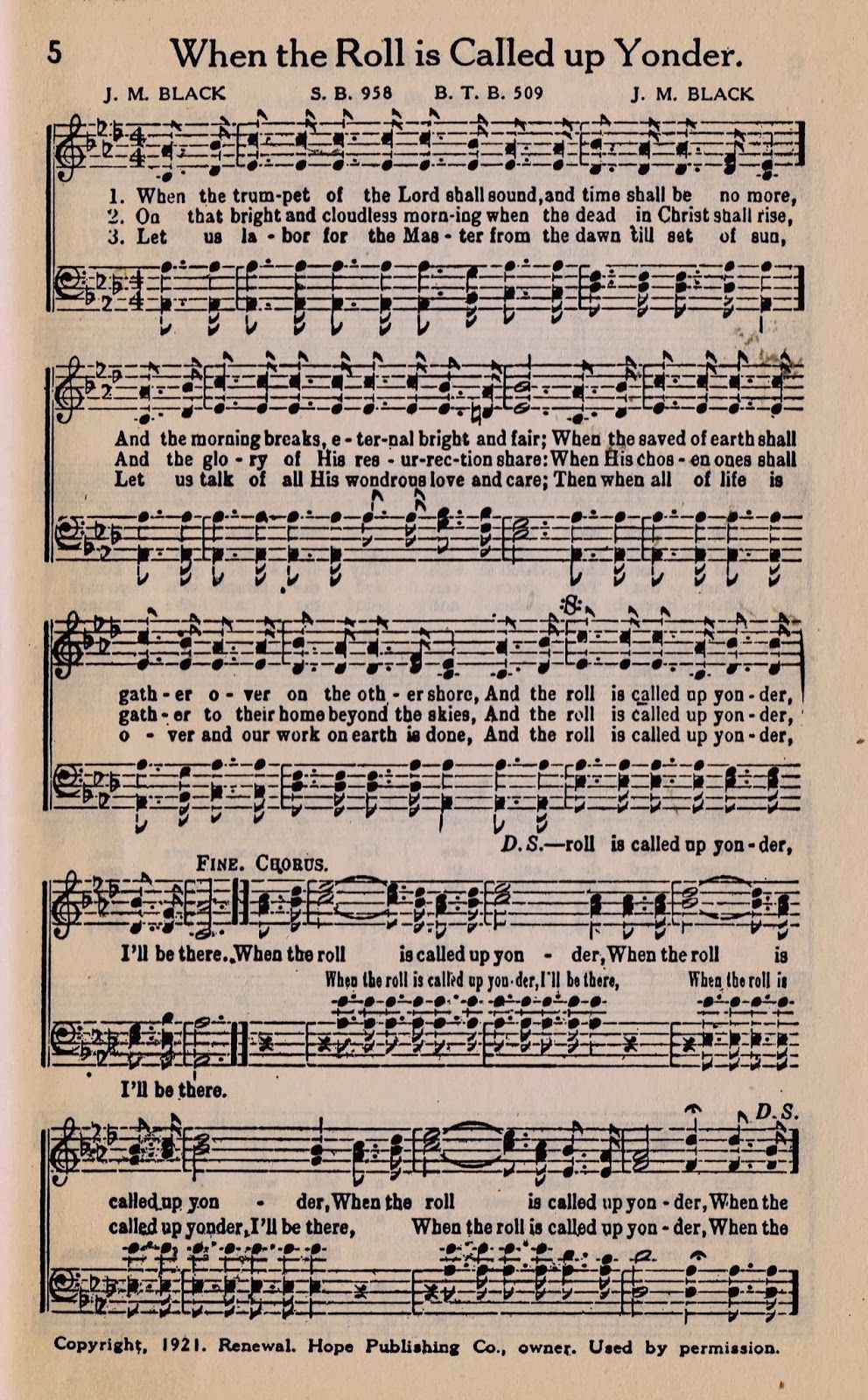 When the Roll is Called up Yonder - Printable Antique Hymn Book Page