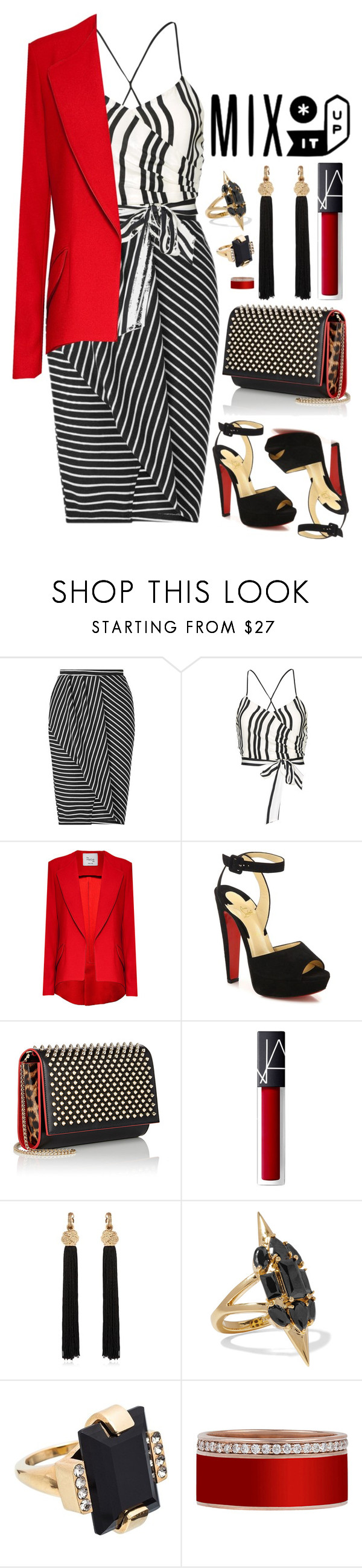 """Untitled #359"" by kitkat2243 ❤ liked on Polyvore featuring Miss Selfridge, Alice + Olivia, Hebe Studio, Christian Louboutin, Yves Saint Laurent, Noir Jewelry and Marni"