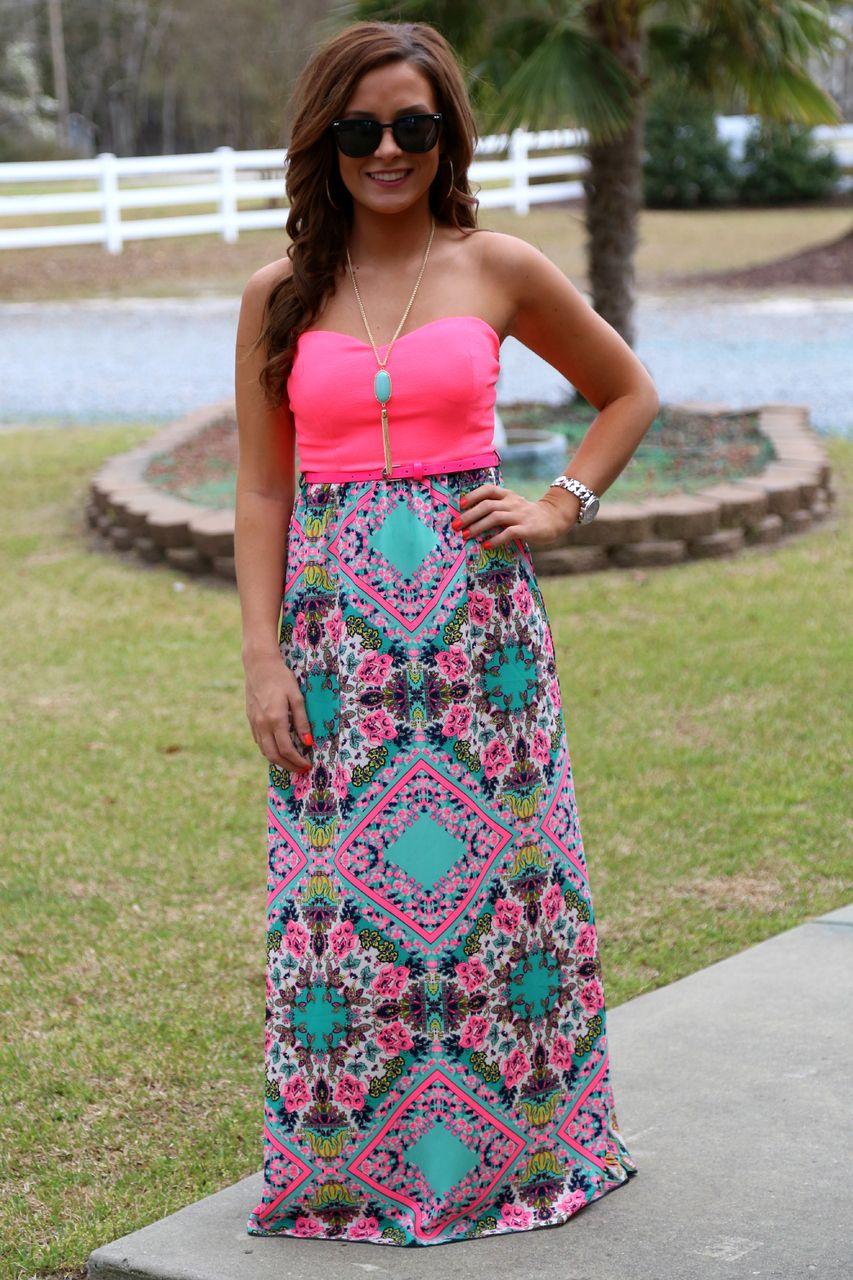Hot pink maxi dress  Castaway Maxi Dress Hot Pink  Off the Racks Boutique  Trajes de