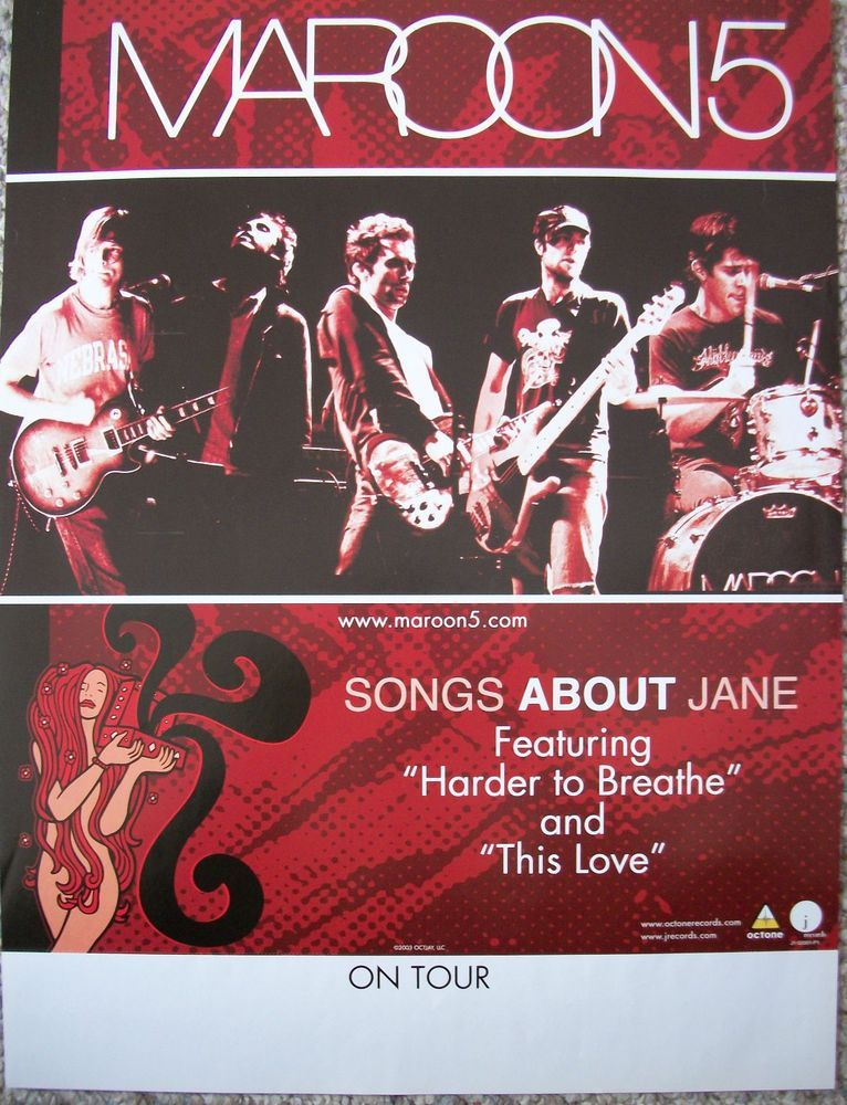 Daily Limit Exceeded Songs About Jane Maroon 5 Music Concert Posters