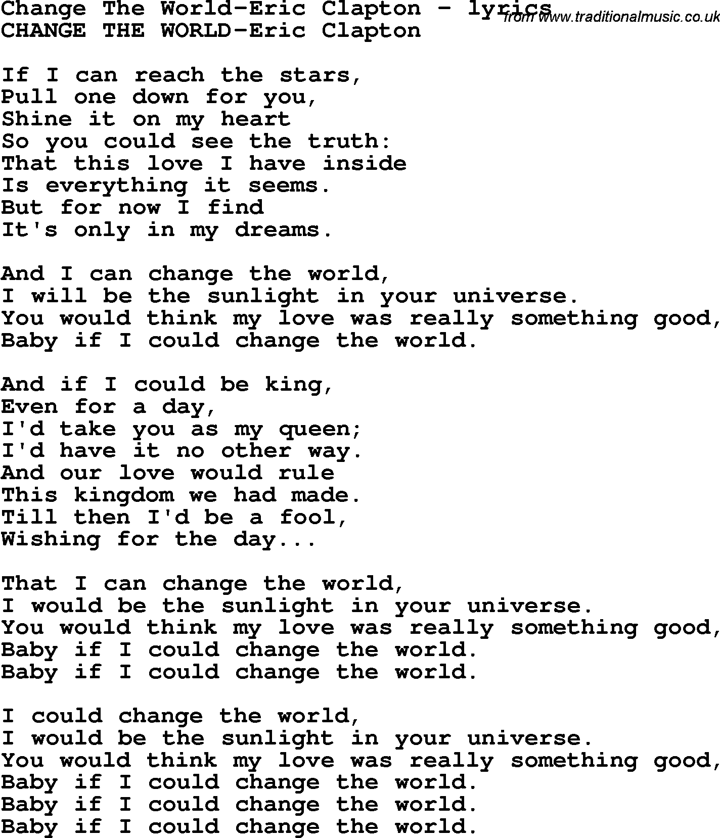 Image Result For Eric Clapton Change The World Lyrics Cool Words Lyrics All Quotes