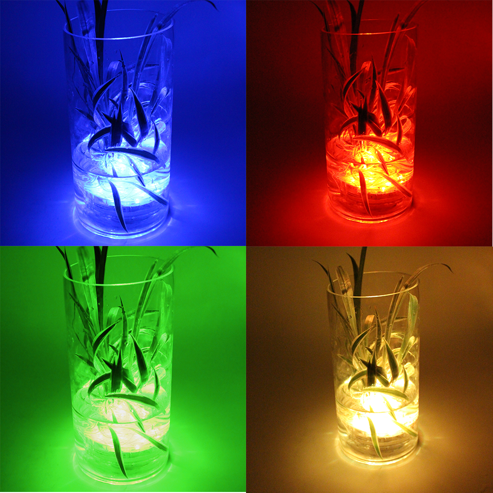 4 Pack 13 Color Assorted Led Vase Lights With Ir Remote Submersible Led Lights Submersible Led Lights Centerpiece Vase With Lights