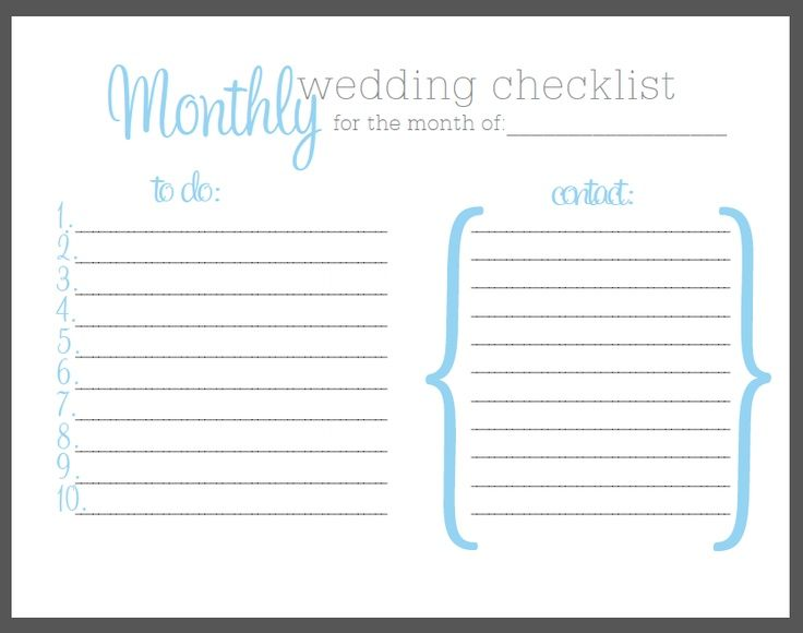 Bridal Checklist Printable