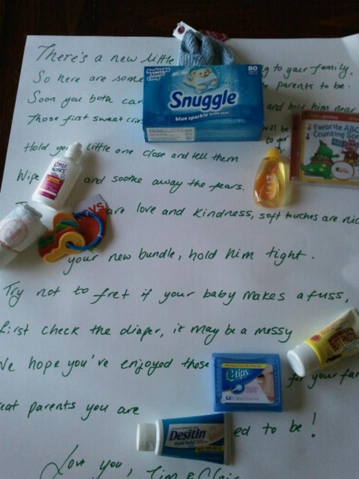 Baby shower poem candy bar poem idea with baby items