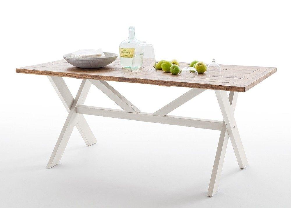 Esstisch Landhausstil Byron Holz Massiv Weiß mit Vintage Braun 20601