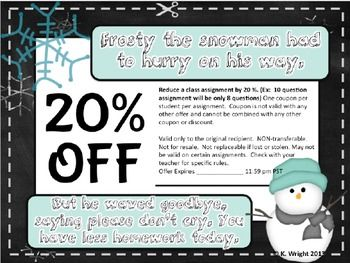 Example Of A Coupon Mesmerizing Free Printable Classroom Coupons For The Holidays Or Christmas .
