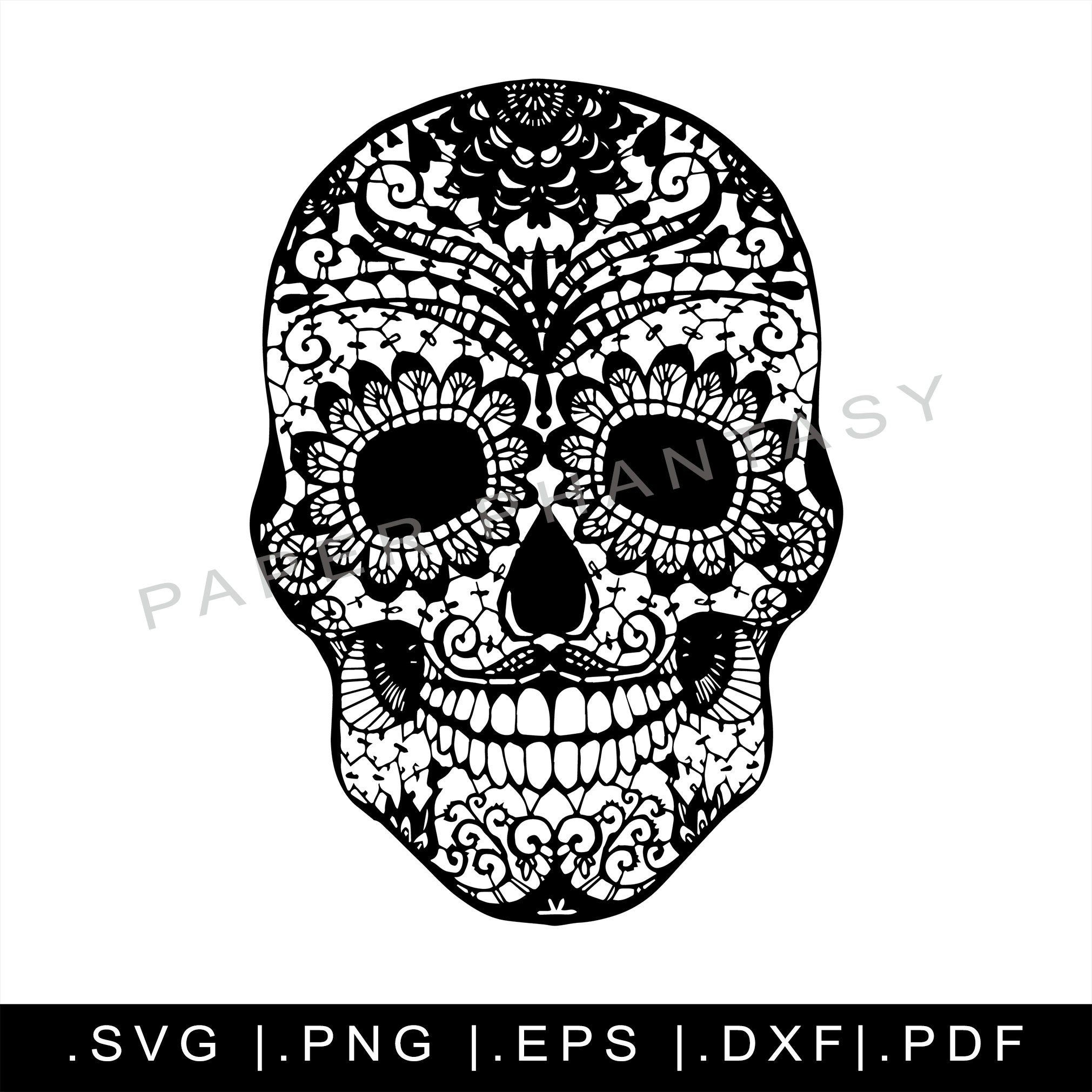 Sugar Skull Outline SVG Files Clipart Day Of The Dead