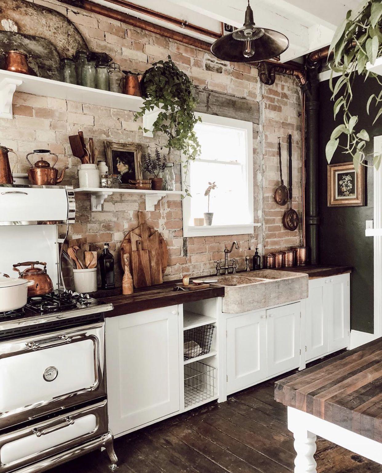 cottage kitchen open shelving vintage brick walls in the kitchen in 2020 kitchen interior on kitchen interior classic id=65220