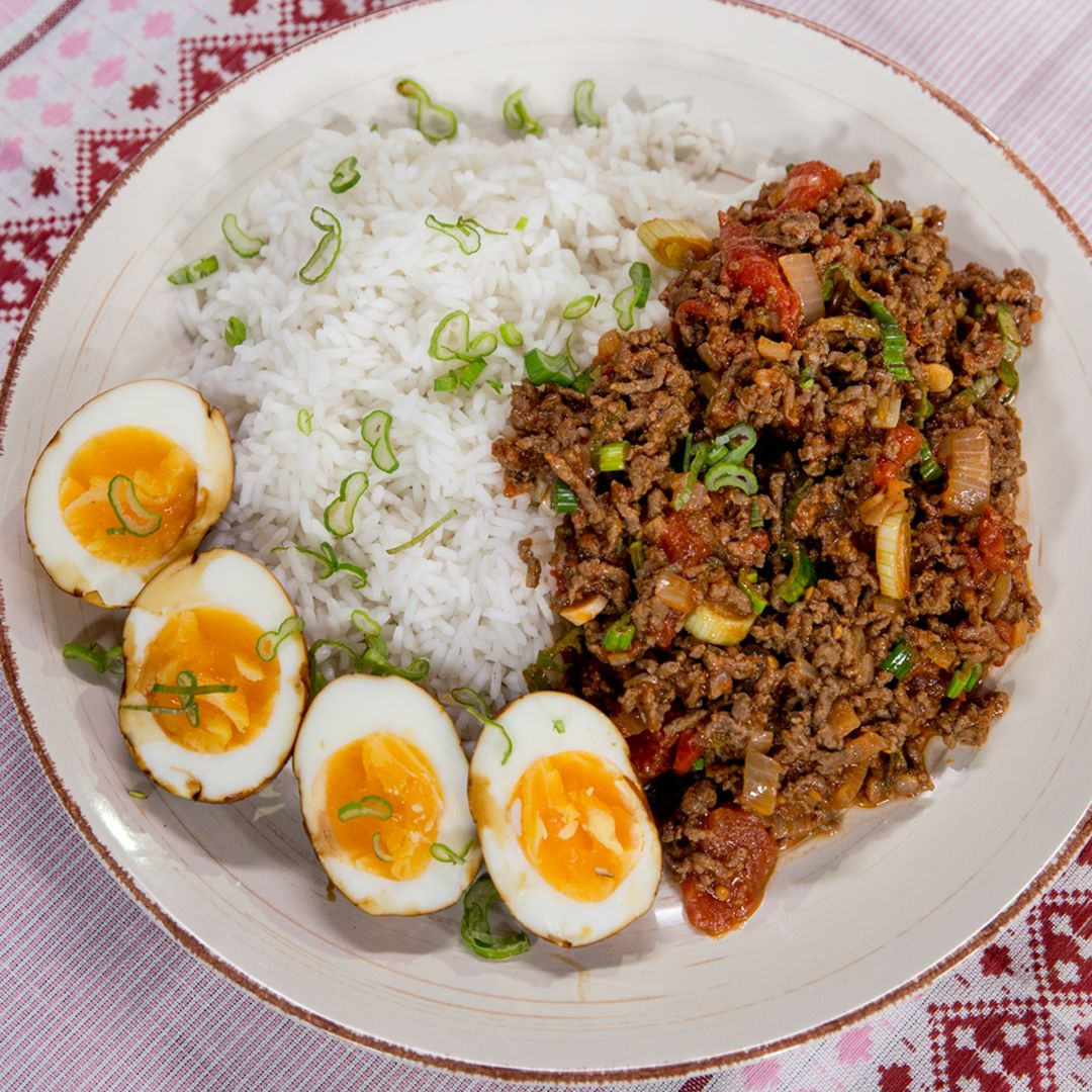 Ground Beef With Rice And Egg Recipe Ground Beef Rice Ground Beef Ground Beef Recipes